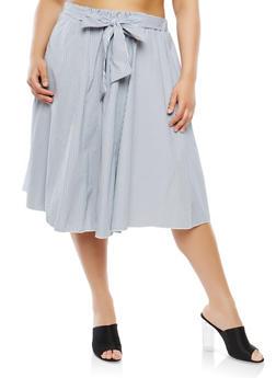 Plus Size Striped Skater Skirt - 9444074011415