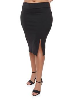 Plus Size Slit Front Skirt - 9444074016154