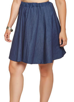 Plus Size Chambray Skater Skirt - 9452020628184