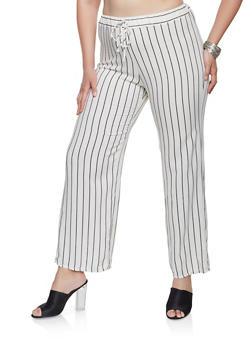 7647863c013 Plus Size Striped Linen Pants - 9464020621113