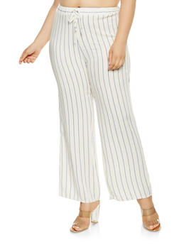 Plus Size Striped Linen Pants - 9464020621113