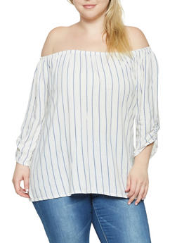 Plus Size Striped Off the Shoulder Linen Top - 9464020626069