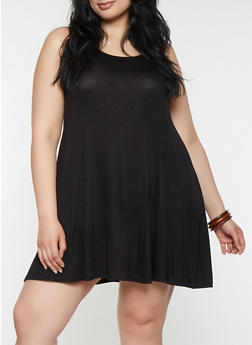 Plus Size Trapeze Tank Dress - BLACK - 9475020620699