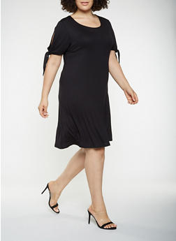Plus Size Tie Sleeve T Shirt Dress - 9475020621620