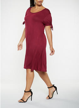 Plus Size Tie Sleeve T Shirt Dress - 9475020621620