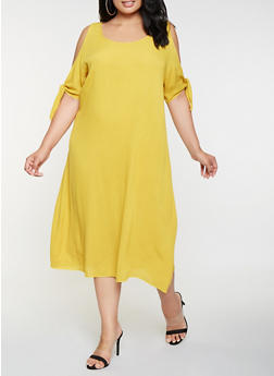 Plus Size Cold Shoulder Shift Dress - 9475054263580