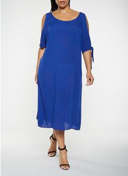 Plus Size Cold Shoulder Shift Dress - 9475054263580