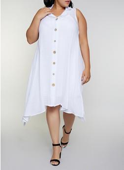 Plus Size Sleeveless Shirt Dress - 9475056121204