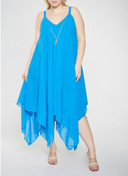 Plus Size Asymmetrical Maxi Dress with Necklace - 9475056124590