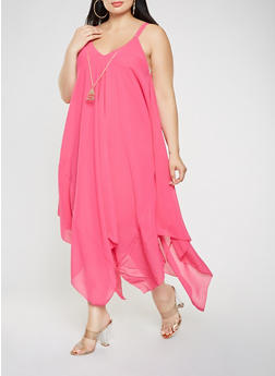 Plus Size Asymmetrical Maxi Dress with Necklace - 9475056124590