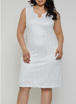 Plus Size Keyhole Lace Shift Dress - 9475062701008