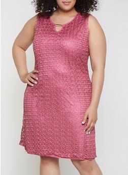 Plus Size Keyhole Lace Shift Dress - 9475062701008