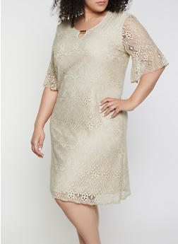 Plus Size Lace Bell Sleeve Dress - 9475062701009
