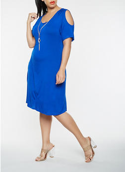 Plus Size Cold Shoulder T Shirt Dress with Necklace - 9475062701200