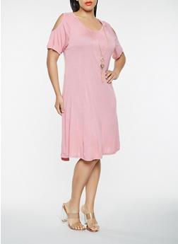 Plus Size Cold Shoulder T Shirt Dress with Necklace - 9475062701200