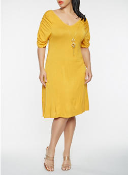 Plus Size Ruched Sleeve Dress with Necklace - 9475062702010