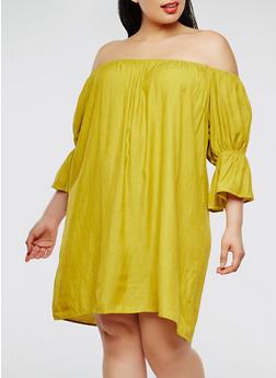 Plus Size Off the Shoulder Peasant Dress - 9475062705466