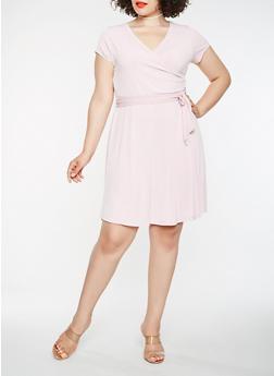 Plus Size Midi Faux Wrap Dress - 9475074093309