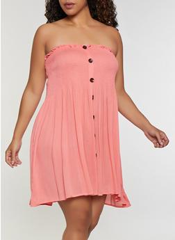 Plus Size Gauze Knit Strapless Babydoll Dress - 9475074731212