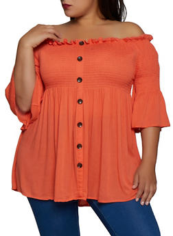 Plus Size Babydoll Off the Shoulder Top - 9475074731904