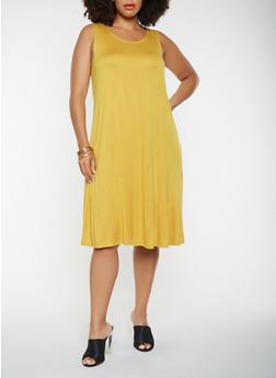Plus Size Solid Tank Dress - 9476020621756