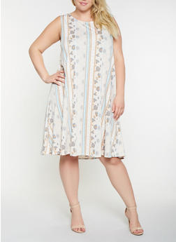 Plus Size Printed Shift Dress - 9476020623157