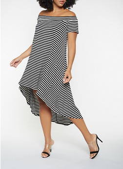 Plus Size Striped Off the Shoulder High Low Dress - 9476020623756