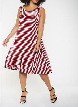 Plus Size Striped Tank Dress - 9476020625578
