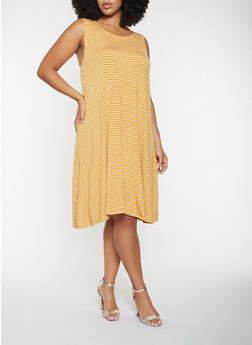 aaec89d534d Plus Size Striped Tank Dress - 9476020625578