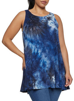 Plus Size Tie Dye Swing Dress - 9476020625682