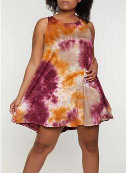 Plus Size Tie Dye Swing Dress - 9476020625682