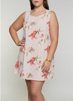 Plus Size Floral Striped Trapeze Dress - 9476020625783