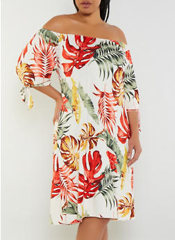 Plus Size Off the Shoulder Palm Leaf Print Dress - 9476020626062