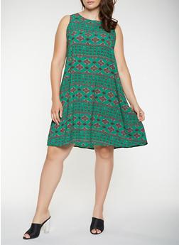Plus Size Printed Crepe Knit Shift Dress - 9476020626398