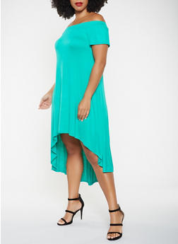 Plus Size Off the Shoulder High Low Dress - 9476020626573