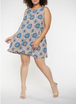 Plus Size Printed Trapeze Dress - 9476020626578