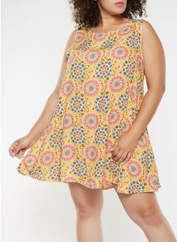 Plus Size Printed Trapeze Dress - 9476020626578