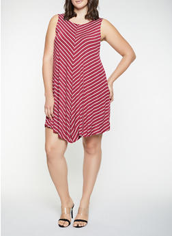 Plus Size Striped Tank Dress - 9476020628252