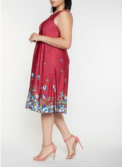 Plus Size Border Print Tank Dress - 9476020628751