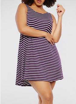 Plus Size Striped Tank Dress - 9476020628809