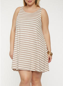 Plus Size Striped Tank Dress - 9476020628809