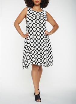 Plus Size Polka Dot Trapeze Dress - BLACK - 9476020628936