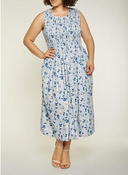 Plus Size Smocked Floral Maxi Dress - 9476030843911