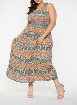 Plus Size Abstract Print Maxi Dress - 9476030844911