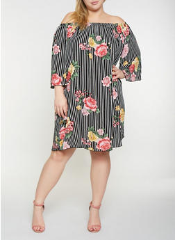 Plus Size Floral Striped Off the Shoulder Dress - 9476054261315