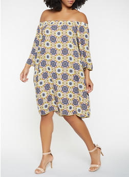 Plus Size Printed Off the Shoulder Dress - 9476054261415