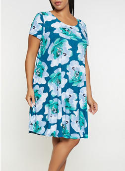 Plus Size Printed Trapeze Dress - 9476054262785