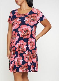 Plus Size Printed Trapeze Dress - 9476054262785