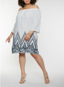 Plus Size Off the Shoulder Border Print Dress - 9476054263441