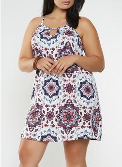 Plus Size Printed Trapeze Dress - 9476054263475